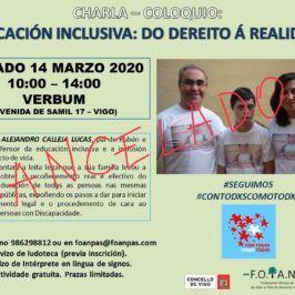 """Charla-coloquio: """"Educación inclusiva: do dereito a realidade"""""""